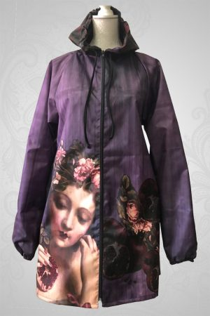 Pomegranate rose raincoat
